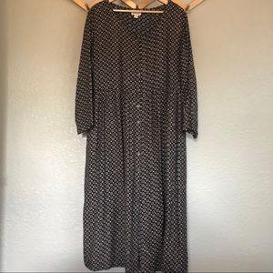 Vintage button-front boho midi dress - L